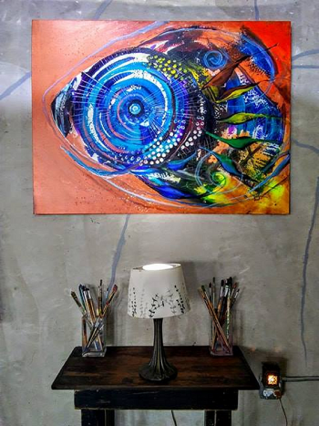 Copper Blue  Modern Abstract Fish Art Artwork Paintings J Vincent Scarpace