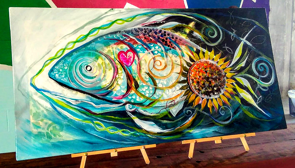 The Fish With a Heart and a Sunflower on Its Butt  Modern Abstract Fish Art Artwork Paintings J Vincent Scarpace