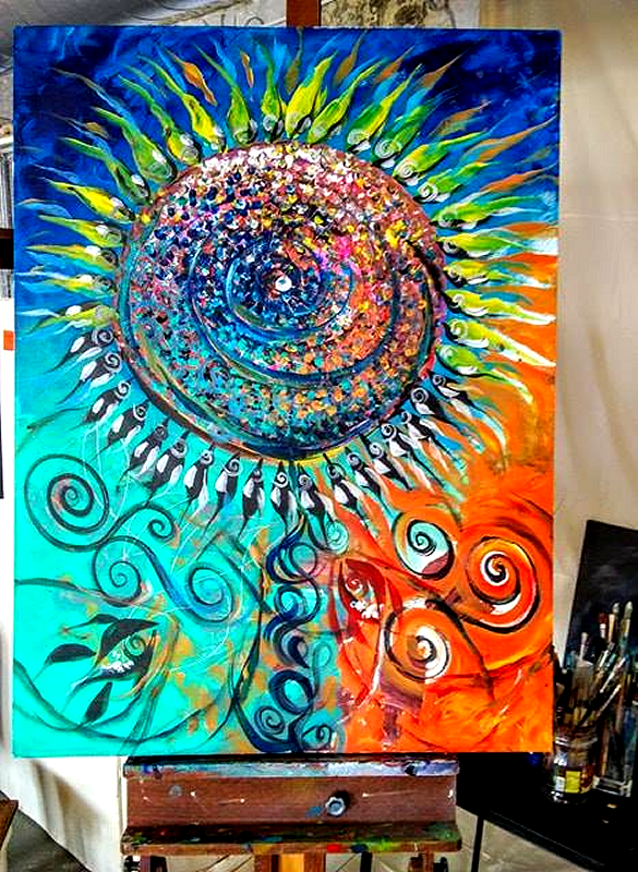 Always Look Up to the Sun  Modern Abstract Fish Art Artwork Paintings J Vincent Scarpace