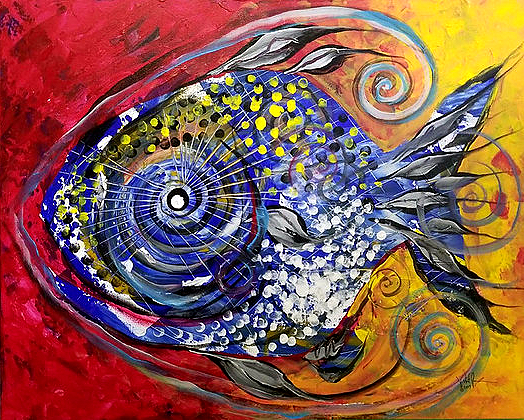 Mother Fish  Modern Abstract Fish Art Artwork Paintings J Vincent Scarpace