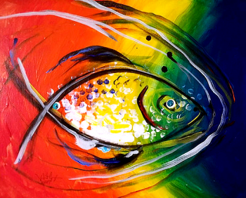 Rainbow Ichthus  Modern Abstract Fish Art Artwork Paintings J Vincent Scarpace