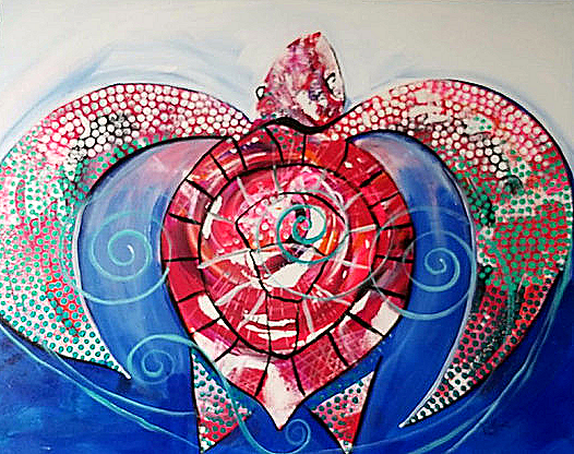 Salty Sea Turtle in Red  Modern Abstract Fish Art Artwork Paintings J Vincent Scarpace