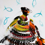 She Dances with Fishes  Modern Abstract Fish Art Artwork Paintings J Vincent Scarpace