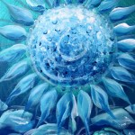 Sunflower in Teal and Blues  Modern Abstract Fish Art Artwork Paintings J Vincent Scarpace