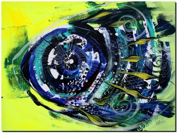 Blue on Yellow  Modern Abstract Fish Art Artwork Paintings J Vincent Scarpace