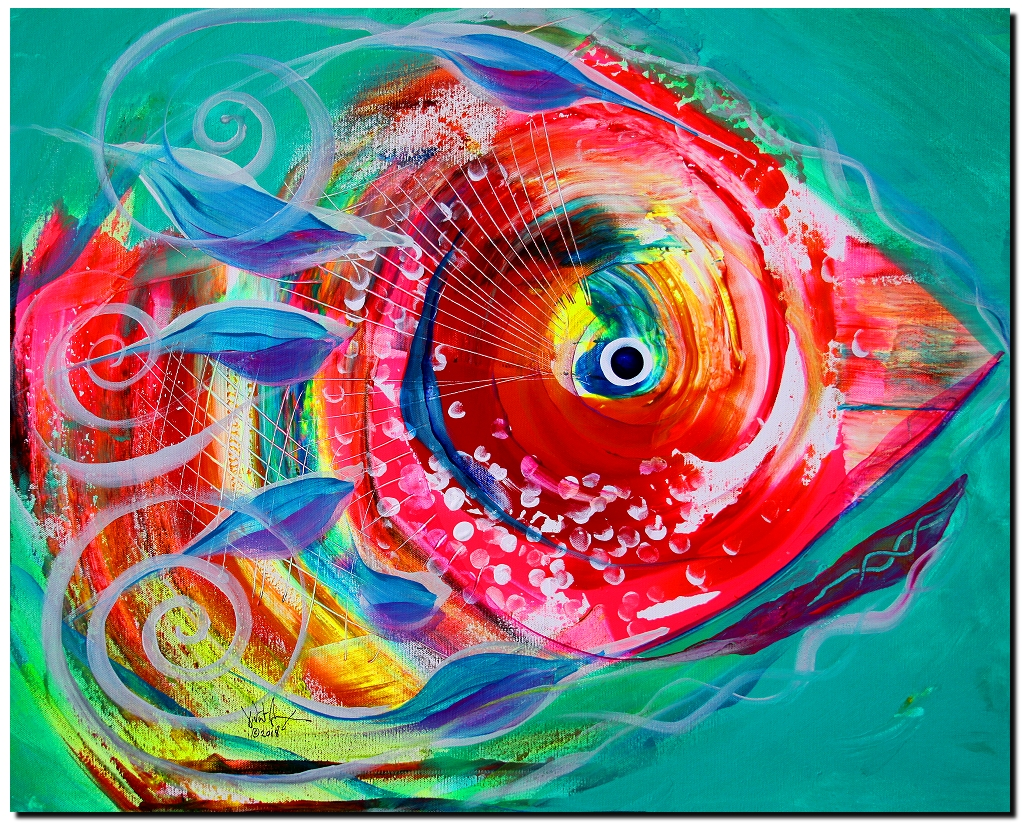 Princess Phish  Modern Abstract Fish Art Artwork Paintings J Vincent Scarpace