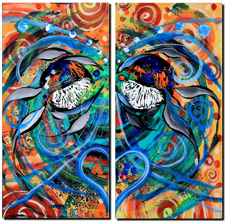 The Kiss  Blue Heart  Modern Abstract Fish Art Artwork Paintings J Vincent Scarpace