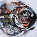 SteamPunk Metallic Fish  Modern Abstract Fish Art Artwork Paintings J Vincent Scarpace
