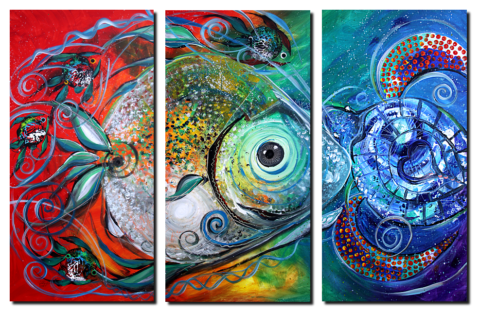 Follow the Leader  Modern Abstract Fish Art Artwork Paintings J Vincent Scarpace