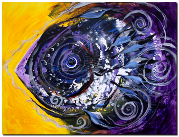 Violet Tri Fish  Modern Abstract Fish Art Artwork Paintings J Vincent Scarpace