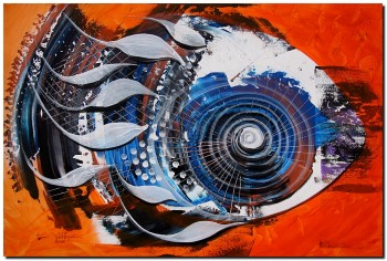 Older Fish on Orange  Modern Abstract Fish Art Artwork Paintings J Vincent Scarpace