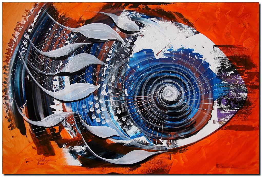 Older Fish on Orange  Modern Abstract Fish Art Artwork Paintings J Vincent Scarpace