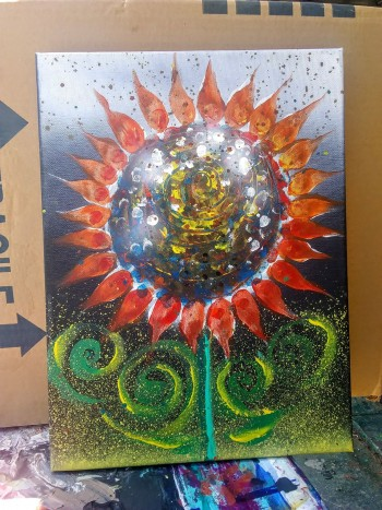 Abstract Sunflower   Modern Abstract Fish Art Artwork Paintings J Vincent Scarpace