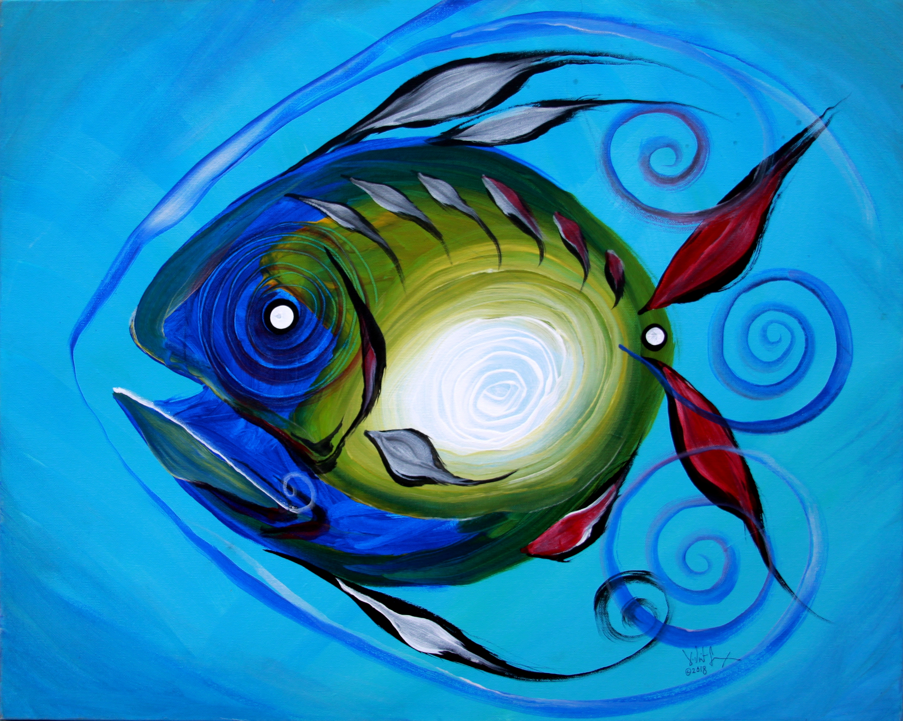 Return Fish  Modern Abstract Fish Art Artwork Paintings J Vincent Scarpace