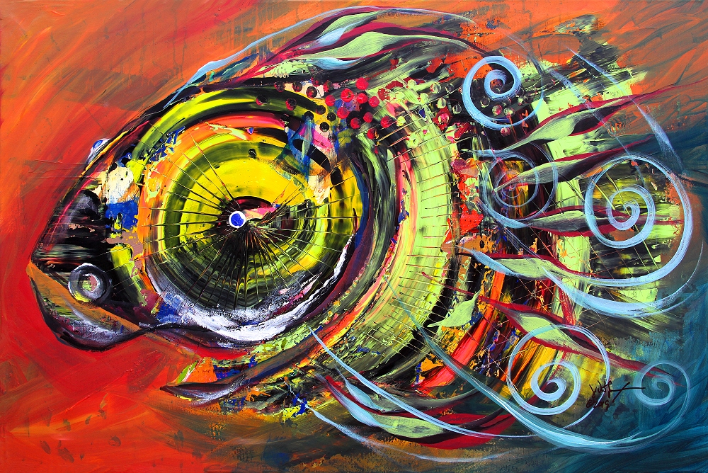 Triple Crown Blue Eyed Horse Faced Fish  Modern Abstract Fish Art Artwork Paintings J Vincent Scarpace