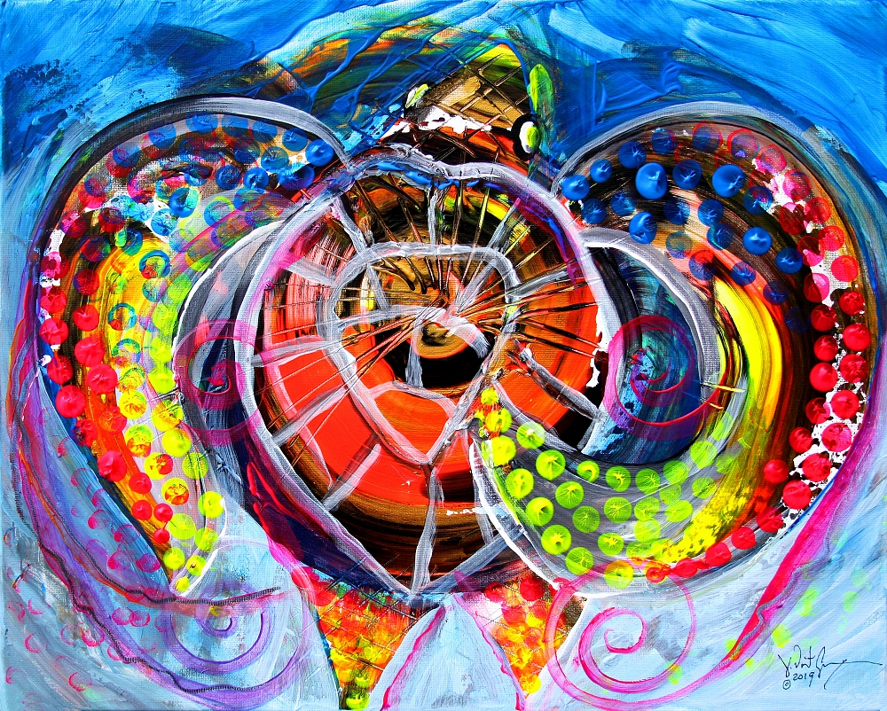 Neon Sea Turtle Wake and Drag  Modern Abstract Fish Art Artwork Paintings J Vincent Scarpace