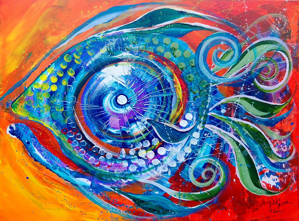 Colorful Comeback Fish  Modern Abstract Fish Art Artwork Paintings J Vincent Scarpace