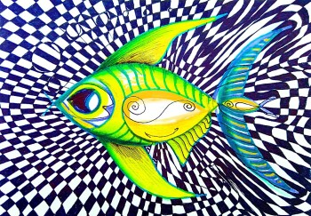 Perplexed Contentment Fish  Modern Abstract Fish Art Artwork Paintings J Vincent Scarpace